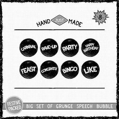threadbare: Big set of grunge round speech bubbles. Eight simple icons