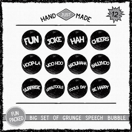 Big set of grunge round speech bubbles. Twelve simple icons Illustration