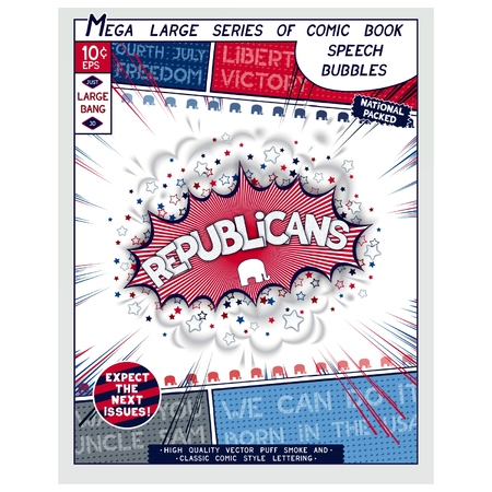 republicans: Republicans. Explosion in comic style with lettering and realistic puffs smoke. 3D vector pop art speech bubble Illustration