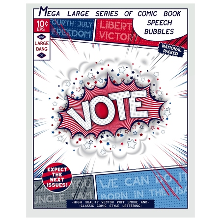Vote. Explosion in comic style with lettering and realistic puffs smoke. 3D vector pop art speech bubble