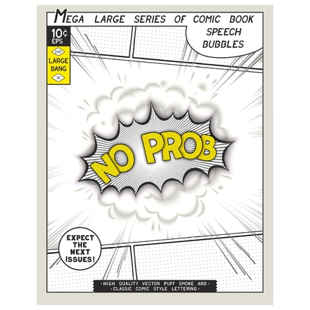 all right: No problem. Explosion in comic style with lettering and realistic puffs smoke. 3D vector pop art speech bubble