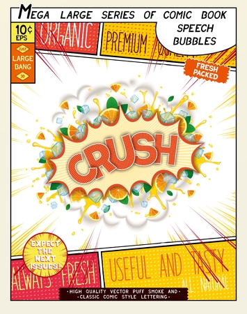crush on: Crush. Colorful explosion with mint leaves, ice, water splashes and clouds of smoke in comic style. Realistic pop art speech bubble Illustration