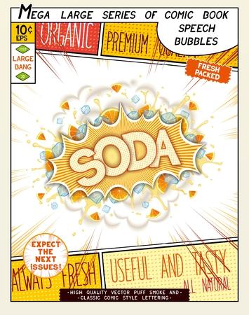 Soda. Explosión de colorido con las hojas de menta, hielo, salpicaduras de agua y nubes de humo en estilo cómico. Pop realista burbuja del discurso del arte