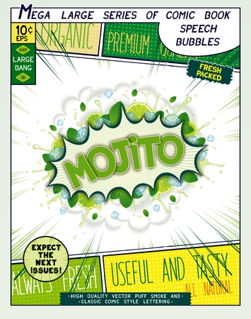 Mojito. Colorful explosion with mint leaves, ice, water splashes and clouds of smoke in comic style.