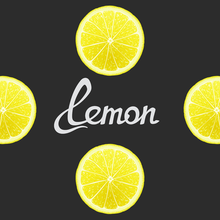 workpiece: Cheerful background with lemon closeup and inscription in the center. Vector art template