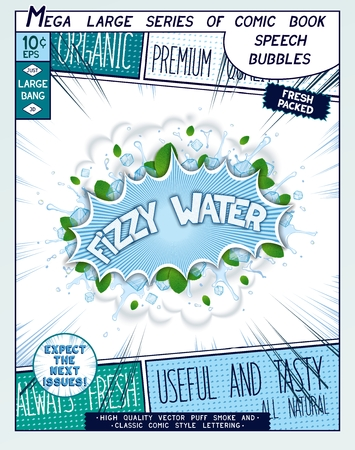 fizzy water: Fizzy water. Colorful explosion with mint leaves, ice, water splashes and clouds of smoke in comic style.  Realistic pop art speech bubble