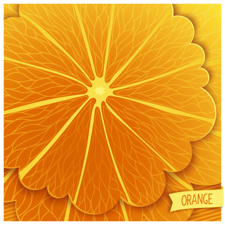 workpiece: Stylized orange background with a layered structure closeup of. Vector square template