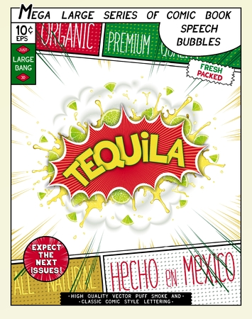 Tequila. Colorful explosion with limes, salt, and splashes drinks. 3D realistic comic style speech bubble Vector