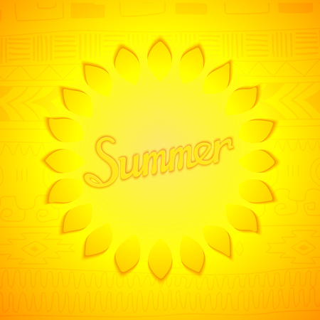 ethno: Summer lettering design. Stylized sun with inscription on ethno pattern background Illustration
