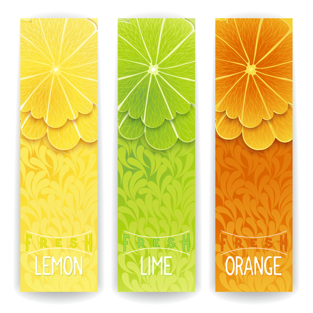 Three bright banner with stylized citrus fruit and textured background. Lemon, lime and orange fresh juice