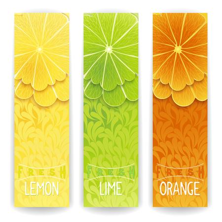 frutas divertidas: Tres banner brillante con estilizada cítricos y textura de fondo. Limón, lima y zumo fresco de naranja