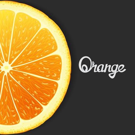 workpiece: Just slice of orange closeup. Vector eps 8 Illustration