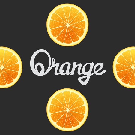 workpiece: Cheerful background with oranges closeup and inscription in the center. Vector art template