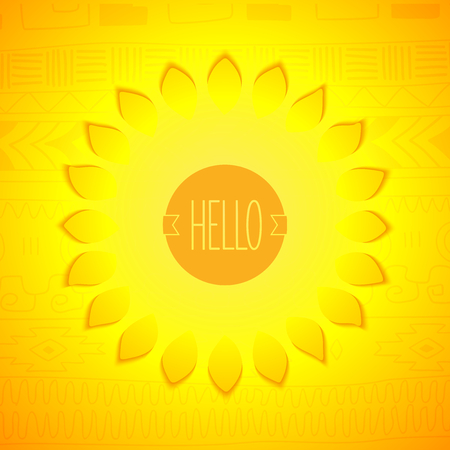 ethno: Hello sunshine. Stylized sun with badge on ethno pattern background