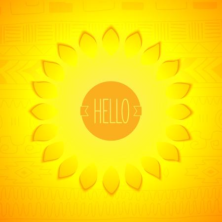 sol radiante: Hola sol. Sol estilizado con insignia en el fondo patrón etno