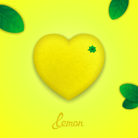 workpiece: Fruit design concept. Photorealistic surround lemon in the form of heart with green leaves Illustration