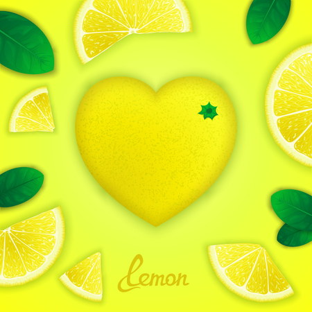 Photorealistic surround lemon in the form of heart with slices around. Fruity creative design Vector