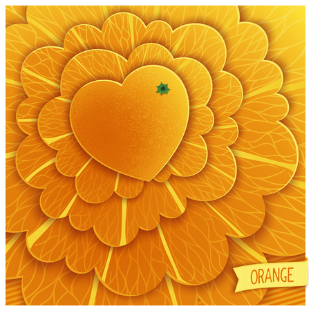 workpiece: Love oranges. Heart in the form of stylized orange on abstract background. Illustration
