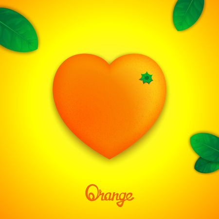 workpiece: Fruit design concept. Photorealistic surround orange in the form of heart with green leaves Illustration