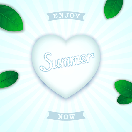 Summer concept design. Volumetric heart with inscription and green leaves on fresh background Vector
