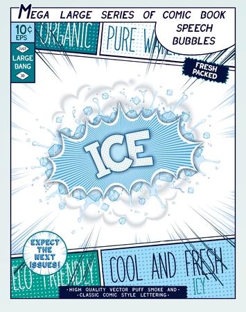 cómico: Hielo. Explosión de colorido con cubitos de hielo y salpicaduras de agua en estilo cómico. Pop realista burbuja del discurso del arte