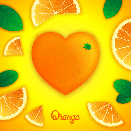 workpiece: Photorealistic surround orange in the form of heart with slices around. Fruity creative design