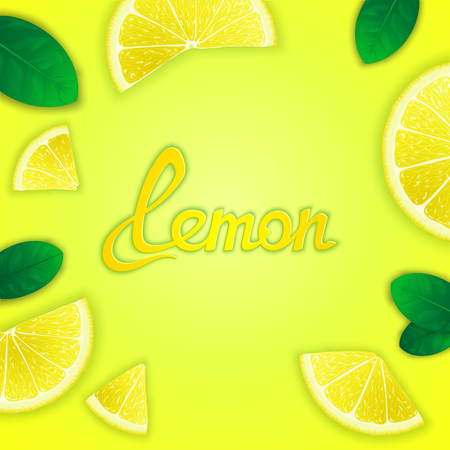 Photorealistic fruity composition with lemon slices around and inscription. Food creative template