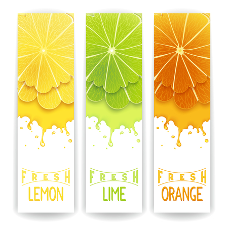 fruit juices: Three bright banner with stylized citrus fruit and splashes. Lemon, lime and orange fresh juice Stock Photo