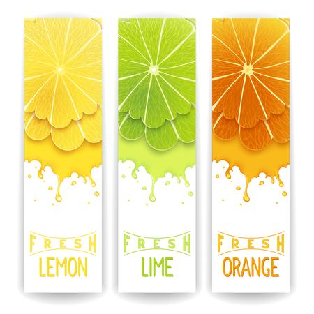 frutas divertidas: Tres banner brillante con estilizada cítricos y salpicaduras. Limón, lima y zumo fresco de naranja
