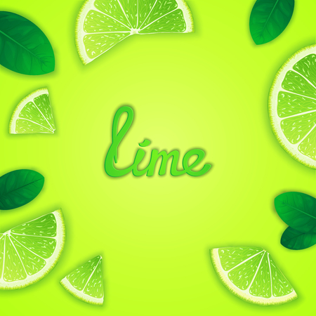 workpiece: Photorealistic fruity composition with lime slices around and inscription. Food creative template