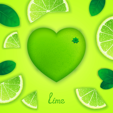 fruity: Photorealistic surround lime in the form of heart with slices around. Fruity creative design