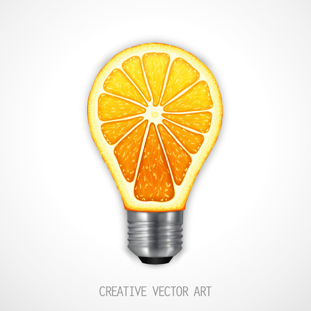 conceptual bulb: Just conceptual design element - light bulb in the form of an orange. Isolated vector art