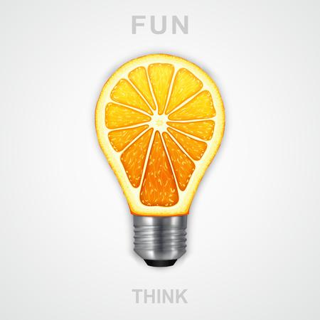workpiece: Symbol of creative art. Photorealistic light bulb in the form of an orange
