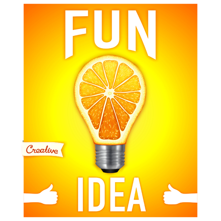 conceptual bulb: Fun idea. Conceptual motivational poster with light bulb in the form of an orange.