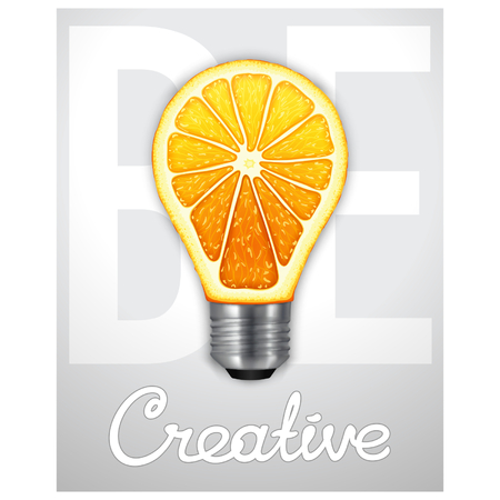 Be creative. Photorealistic light bulb in the form of an orange.