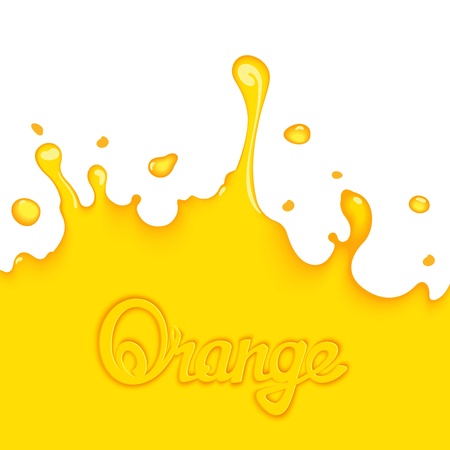 juice: Bright orange splash juice with calligraphy title. Art design elements Illustration