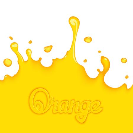 squeezed: Bright orange splash juice with calligraphy title. Art design elements Illustration