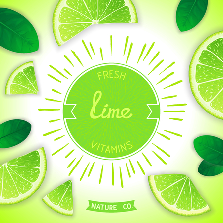 workpiece: Sunny fruity composition with retro label and lime slices around. Fresh vitamins Illustration