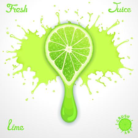 lime juice: Vector lime juice splash with stylized crush slice