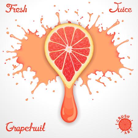 squeezed: Vector grapefruit juice splash with stylized crush slice