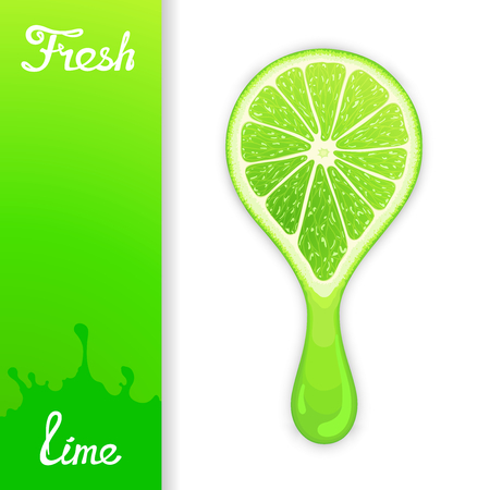 squeezed: Stylized half lime from which squeezed fresh juice. Juicy design elements
