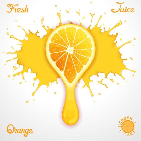crush on: Salpicaduras Vector de jugo de naranja con una rodaja de aplastamiento estilizada