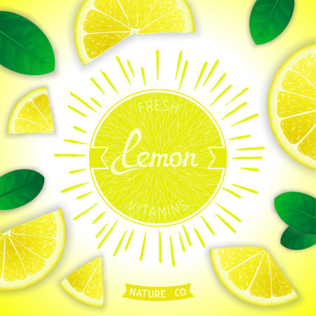 lemon slices: Sunny fruity composition with retro label and lemon slices around. Fresh vitamins