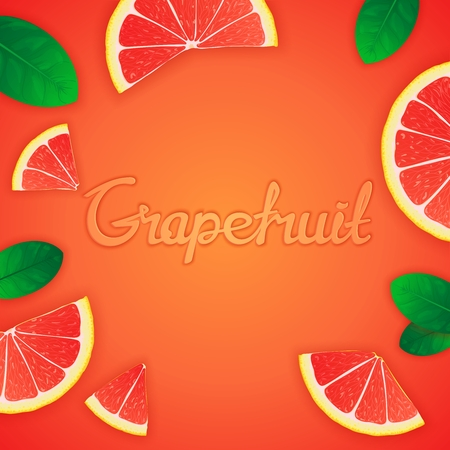 workpiece: Square fruity composition with grapefruit  slices around and inscription. Food creative template