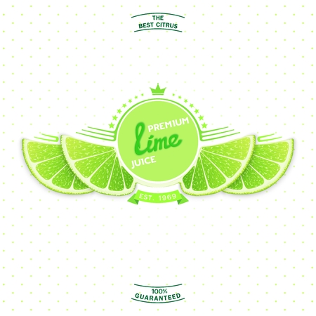 lime slice: Creative label and emblem for products with stylized lime slice shaped like a wings.  Premium quality citrus juice