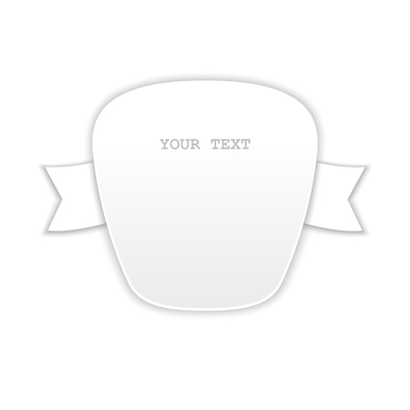 workpiece: Abstract badge with ribbons on the sides. White isolated element design