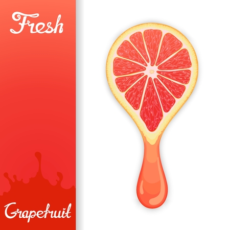 grapefruit juice: Stylized half grapefruit from which squeezed fresh juice. Juicy design elements