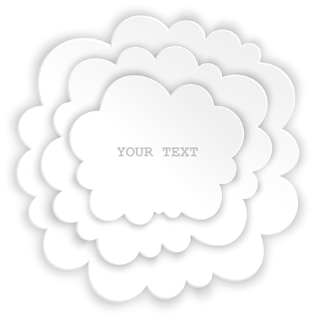 workpiece: The composition of layering clouds with space for messages. White isolated design element