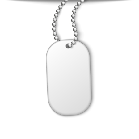 photoreal: Army metal jetton on a chain. White isolated element design
