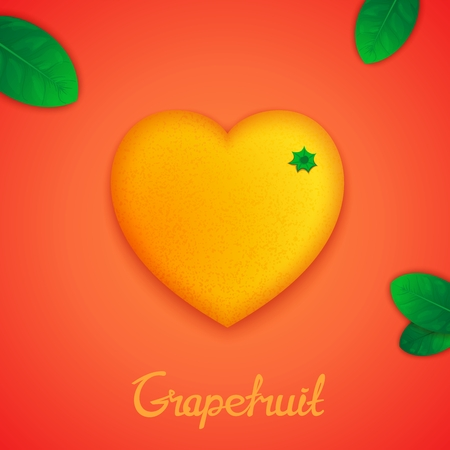 workpiece: Fruit design concept. Photorealistic surround grapefruit in the form of heart with green leaves Illustration